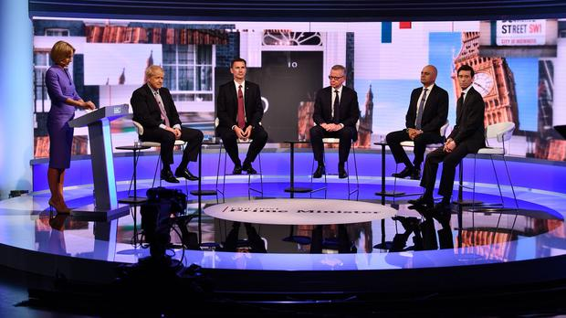 Host Emily Maitlis, Boris Johnson, Jeremy Hunt, Michael Gove, Sajid Javid and Rory Stewart during the Tory leadership debate (Jeff Overs/BBC/PA)