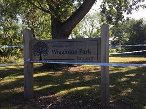 The entrance to Wigginton Park in Tamworth was cordoned off on Friday morning as the investigation continued (Josh Payne/PA)