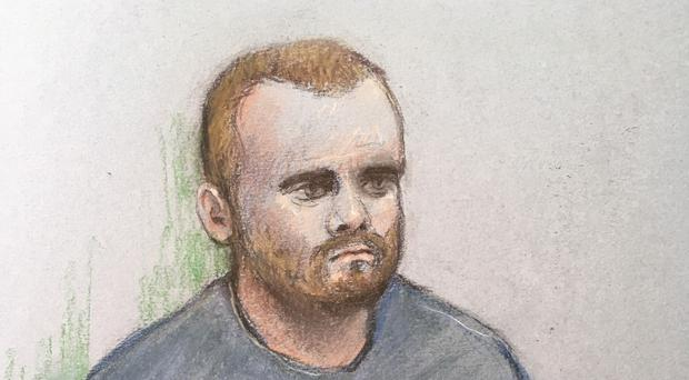 Court sketch of Jonty Bravery appearing at the Old Bailey in London (Elizabeth Cook/PA)
