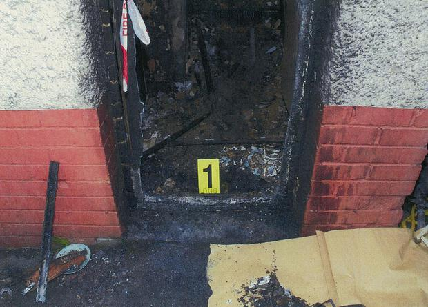 Damage caused to the home by the arson attack (CPS/PA)