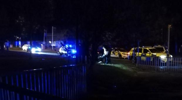 """Undated handout photo issued by Wendy Egan of the scene in Littlehampton, Sussex, where two police officers were hit by a fast-moving Mercedes Benz in a """"deliberate act"""" early on Monday morning (Wendy Egan/PA)"""