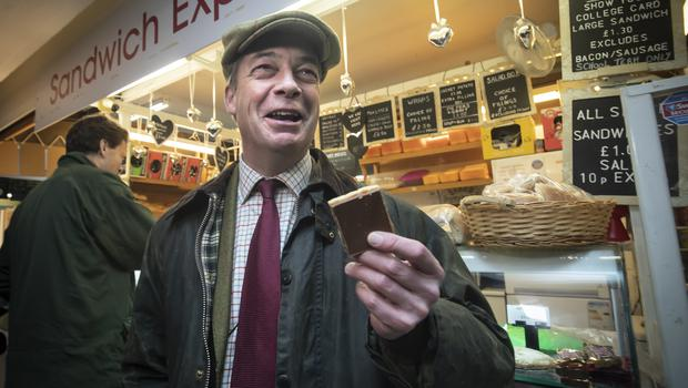 Brexit Party leader Nigel Farage spent the day in Hartlepool (Danny Lawson/PA)