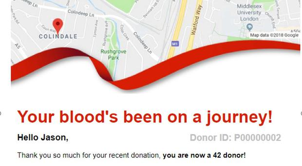 Sample donor email (NHSBT/PA)