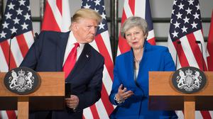 Prime Minister Theresa May and US President Donald Trump during their joint press conference at the Foreign and Commonwealth Office (Stefan Rousseau/PA)