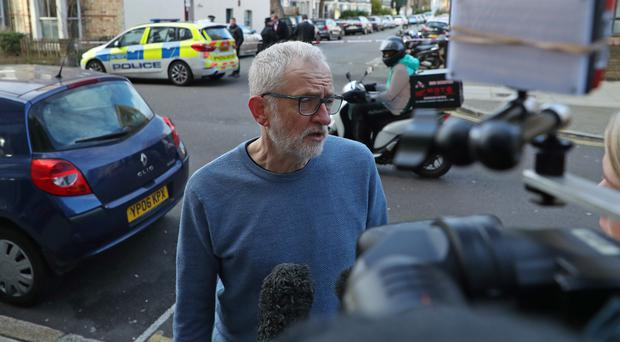 Labour leader Jeremy Corbyn in Finsbury Park after a man was stabbed to death on Friday evening (Yui Mok/PA)