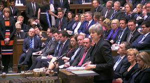 Theresa May announced she was seeking a three-month delay to Brexit at Prime Minister's Questions in the Commons (House of Commons/PA)