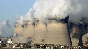 The cooling towers for a coal fired power station.