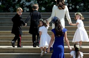The Duchess of Cambridge, Prince George and Princess Charlotte with other bridesmaids and members of the wedding party arrive at St George's Chapel in Windsor Castle for the wedding of Prince Harry and Meghan Markle (Jane Barlow/PA)