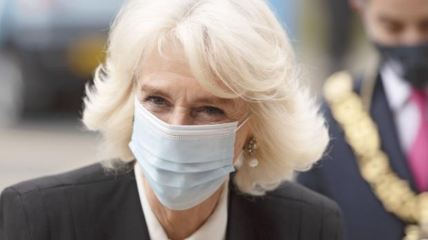 The Duchess of Cornwall during a visit to the Lordship Lane Primary Care Centre Vaccination Centre to meet staff, volunteers and patients receiving the Covid-19 vaccine (Geoff Pugh/The Daily Telegraph/PA)
