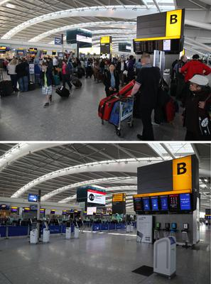 Scenes from Heathrow Airport (Steve Parsons/PA)