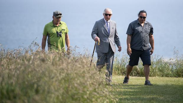 Charles's last engagement on the New Zealand leg of his tour was a picturesque coastal walk in Kaikoura (Victoria Jones/PA)