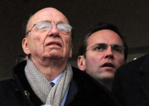 Rupert Murdoch and his son James in 2010 (Barry Batchelor/PA)