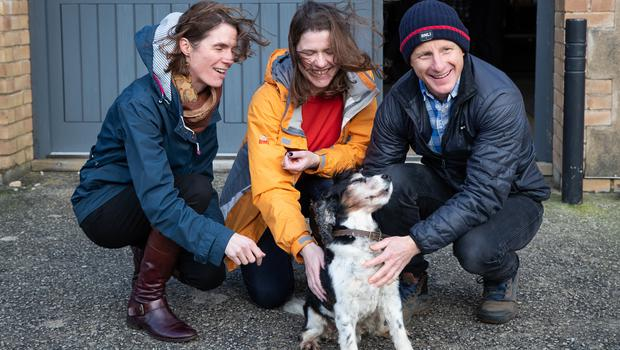 Jo Swinson alongside Lib Dem candidate for Truro and Falmouth Ruth Gripper and founder of Finisterre Tom Kay (Aaron Chown/PA)