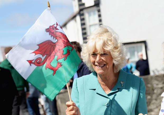 The Duchess of Cornwall waves a Welsh flag in the village of Aberdaron (Chris Jackson/PA)