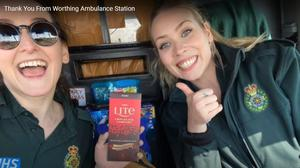 A scene from the video made by Worthing Ambulance Station staff (Worthing Ambulance Station/YouTube/PA)