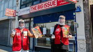 Big Issue vendors Will Herbert (left) and Mike Danks wearing PPE (Big Issue/PA)