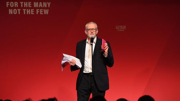 Jeremy Corbyn did not go as far as to issue an apology in his own name when speaking at a campaign stop in Falmouth (Joe Giddens/PA)