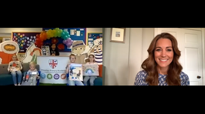The duchess chatting to children during the online assembly. Kensington Palace