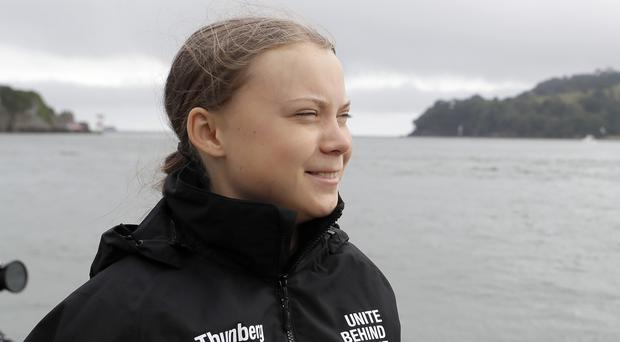 Climate activist Greta Thunberg before she begins her voyage to the US from Plymouth on the Malizia II, to attend climate demonstrations in the country on September 20 and 27 and speak at the United Nations Climate Action Summit.