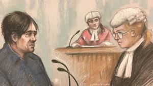 Court artist sketch by Elizabeth Cook of Darren Osborne in the witness box (Elizabeth Cook/PA)