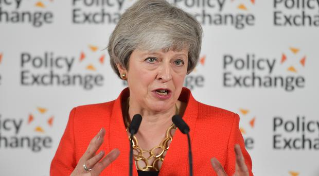 Prime Minister Theresa May gives a speech in response to the Post-18 Education and Funding review (Daniel Leal-Olivas/PA)