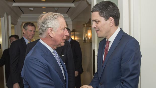 The Prince of Wales meets David Miliband (right) at an event to promote the reduction of plastic waste in the marine environment in Washington DC on the second day of a four day visit to the United States.