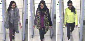 (left to right) Kadiza Sultana, then 16, and Shamima Begum and Amira Abase, both then 15, going through security at Gatwick Airport in 2015 (Metropolitan Police/PA)