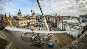 Artwork Blade, a 250ft-long wind turbine, is installed at Queen Victoria Square in Hull (Danny Lawson/PA)
