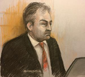 Court artist sketch of Mr Justice Warby during the hearing at the Royal Courts of Justice (Elizabeth Cook/PA)