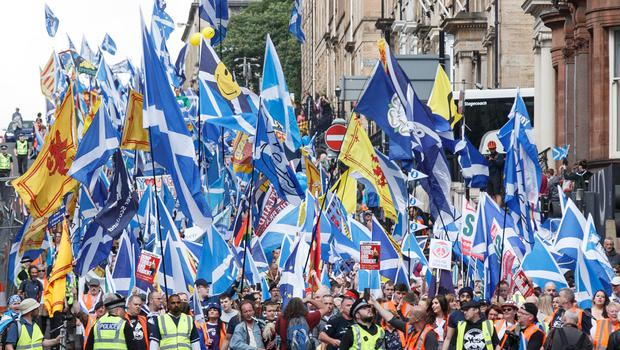 Independence supporters staged a massive march through Glasgow at the start of June (Robert Perry/PA)