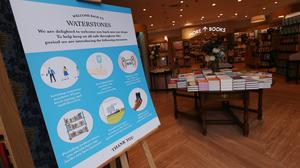 Social distancing and safety signage in a London branch of Waterstones (Yui Mok/PA)