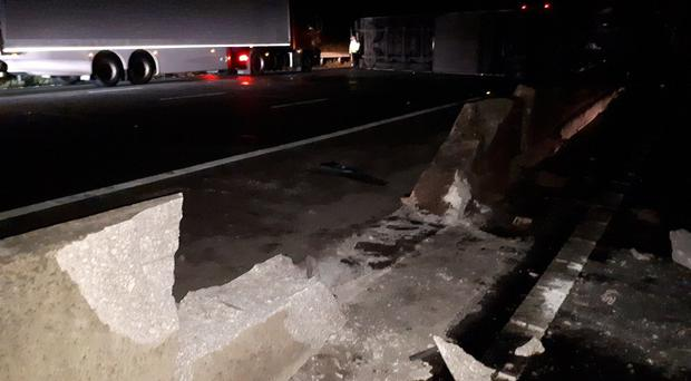 The damaged barrier on the M6 (Highways England/PA)