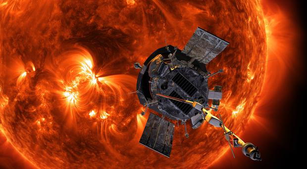 An artist's impression of the Parker Solar Probe spacecraft approaching the Sun (Steve Gribben/Johns Hopkins APL/Nasa/PA)