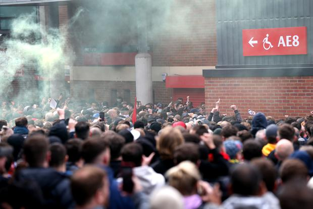 A group of more than 1,000 protesters were outside Old Trafford ahead of Sunday's match against Liverpool (Barrington Coombs/PA)
