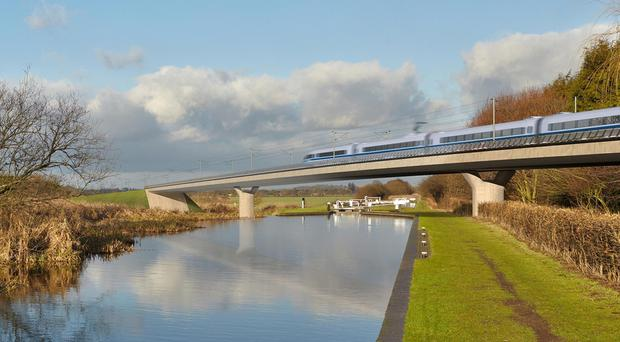 Artist's impression of an HS2 train on the Birmingham and Fazeley viaduct (PA)