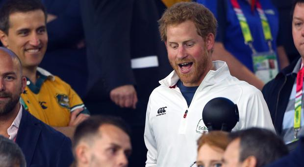 Prince Harry in the stands during the World Cup match (Gareth Fuller/PA)