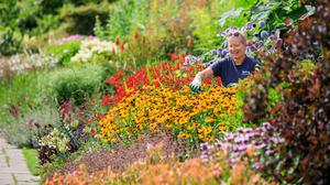 Gardener Sue Key tending to the colourful mixed borders at RHS Garden Wisley, Surrey (Oliver Dixon/RHS/PA)