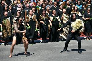 The Duke and Duchess of Sussex were greeted with a haka in Ohinemutu (Dominic Lipinski/PA)