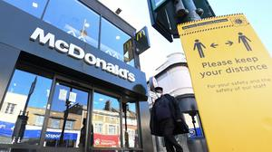 A McDonald's branch in Tooting, London, is one of the 15 branches due to reopen for takeaway only on May 13 (PA)