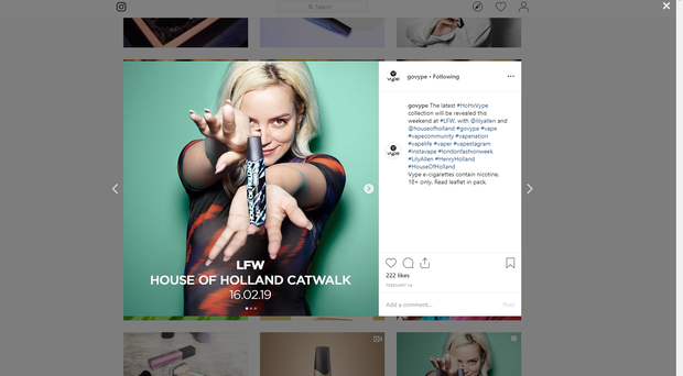 One of the banned British American Tobacco Instagram posts featuring singer Lily Allen (ASA/PA)