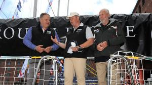 David Hartshorn, centre, with Andrew Greening, left, and Sir Robin Knox-Johnston (Tim Goode/PA)