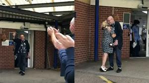 The moment Mick Pickering was discharged after four-and-a-half months in hospital (Nottingham University Hospitals)