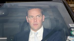 James Murdoch is driven into the QE2 Conference Centre in London for the BSkyB AGM.