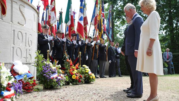 The Prince of Wales and Duchess of Cornwall during VE Day commemorations in Lyon (Andrew Matthews/PA)