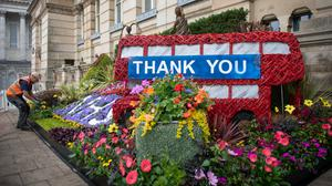 A floral display thanking the NHS and key workers outside Birmingham City Council House (Joe Giddens/PA)