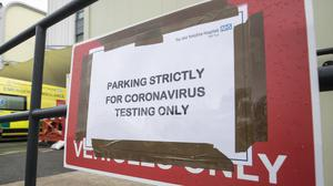 A sign near a Coronavirus Pod at Pinderfields Hospital in Wakefield, West Yorkshire.