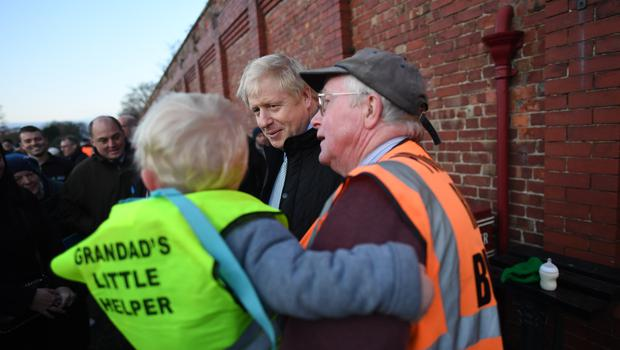 Boris Johnson during a visit to Thornton-Cleveleys railway station (Stefan Rousseau/PA)