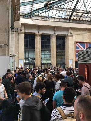 Queues at Gare du Nord station in Paris (Juliet Peters/PA)