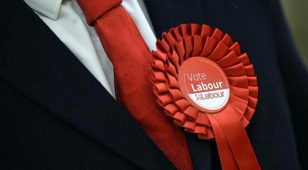 A Labour Party supporter wears a rosette in support of the political party (Hannah McKay/PA)