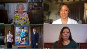 The Queen, artist and Foreign Office officials were on the call (WebEX/PA)